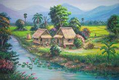 Nature Paintings, Landscape Paintings, Philippines Culture, Art Village, Creative Artwork, Landscape Pictures, Pictures To Paint, Beautiful Paintings, Asian Art