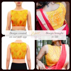 Design to reality- An sunshine yellow embroidered net boat neck blouse looks stunning contrasted against a bright color. Design you own now on houseofblouse.com #saree #blouse #sareeblouse #blousedesigns #desi #indianfashion #india #boatneck #net #bollywood