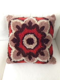 Vintage Latch Hook Groovy Floor Pillow Orange and by musteredgrace, $46.50