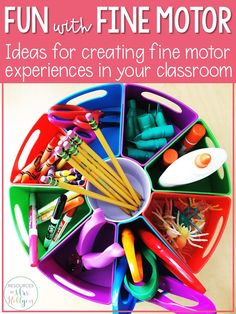 Fine motor work is a big part of kindergarten learning. While many students have fine motor experiences at home through playing and daily tasks, many K students experience a fine motor delay. Integrating more fine motor work into your day is essential and can be different for each teacher. It is important to find what works for your class: morning tubs, learning centers, stations, take-home bags, or something else. #preschool #Kindergarten