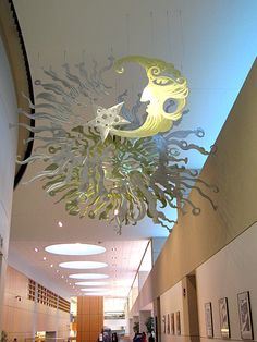 Sun and Moon sculpture (rear view) at Akron Library Main Branch