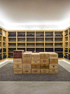 Obumex - An interior to dream about Wine Bottle Chandelier, Bar A Vin, Home Wine Cellars, Wine Logo, Wine Cellar Design, Wine House, Caves, Wine Wall, Entrance Design