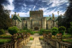 Hatley Castle, Colwood, British Columbia  In 1906, Hatley Castle was built in a Tudor style for a British industrialist. It has since been used as a Military College during the World Wars and more recently, a University.