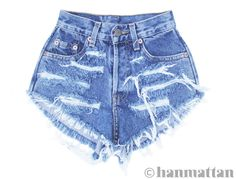 """ALL SIZES """"RAGGED"""" Vintage Levi high-waisted denim shorts blue distressed frayed jeans. $26.00, via Etsy."""