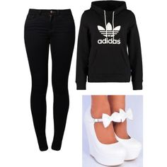 A fashion look from August 2014 featuring adidas Originals, skinny jeans and high heel shoes. Browse and shop related looks. Black Jeans, Adidas, Dreams, Shoe Bag, Pants, Stuff To Buy, Shopping, Shoes, Collection