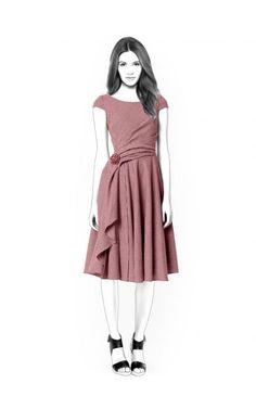 Dress With Asymmetrical Front  - Patrón de costura #4416 Patrón de costura a medida de Lekala con descarga online gratuita.