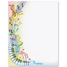 Music Border With Treble Clef And Notes In Blue Free Downloads At Httppagebordersorg
