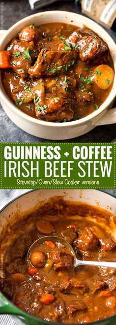 Guinness and Coffee Irish Beef Stew This comfort food is the King of all Irish beef stews, as the Guinness and coffee flavors meld perfectly to give way to a deep, rich, lusciously savory sauce that simmers away to tenderize the beef and vegetables unti Irish Recipes, Meat Recipes, Slow Cooker Recipes, Crockpot Recipes, Cooking Recipes, Healthy Recipes, Irish Desserts, Cake Recipes, Carne Asada