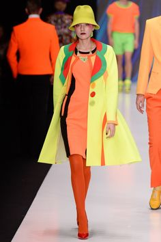 Neon Orange, Lime and Green Dress with Matching Coat by Slava Zaitsev - Russia Spring 2017
