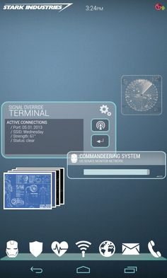 Android home screen theme based on Tony Stark's mobile phone UI in the Iron Man movies!