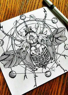 Best Geometric Tattoo - #bettle #sketch #tattooedgirls #beautiful #girlswithtattoos #detailed #design #t...