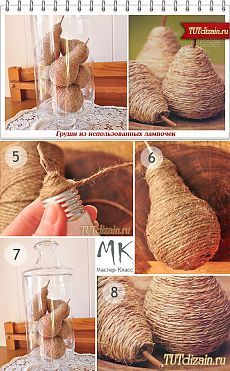 DIY rope pears using a light bulb as the base