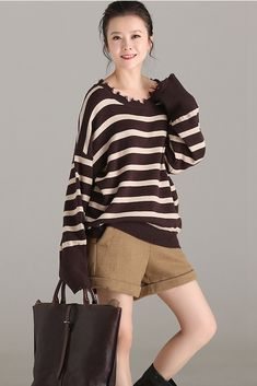 ea0eb5eb5d Vintage Coffee Striped Casual Sweater Women Fall Tops M1211