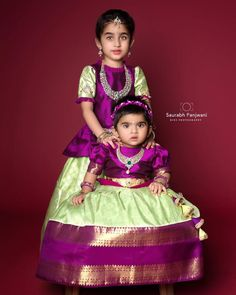 A rich purple kaanchi pattu detailed with zari blouse embellished with zardosi and green thread work Kids Indian Wear, Kids Ethnic Wear, Girls Frock Design, Kids Frocks Design, Baby Girl Party Dresses, Dresses Kids Girl, Kids Dress Collection, Kids Blouse Designs, Dress Designs