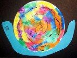 Artsonia Art Exhibit :: coffee filter with markers, spray water =Tie Dye Snail