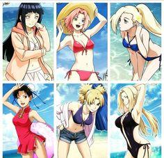 Kunoichis at the Beach  Hinata, Sakura, Ino, TenTen, Temari, Tsunade ❤️ They're so sexy ❤️❤️❤️