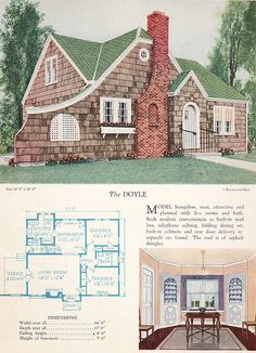 1928 Home Builders Catalog, The Doyle.  Love the terrace hidden behind the extended front wall of the house, and the arched front door.