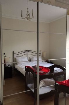 IKEA PAX Wardrobe, white, Auli mirror glass, 150x44x236 cm