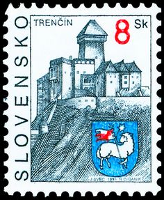 Trenčín Interesting Buildings, Letter I, Stamp Collecting, Postage Stamps, Statue, Baseball Cards, Retro, Drawings, European Countries