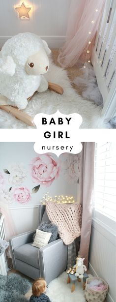 Dreamy Baby Girl Nursery - Girls Nursery with Peony Wall Decals - Pink Nursery Inspo - Gray Nursery Inspiration - Floral Nursery - Nursery Decor Ideas on Chandeliers and Champagne