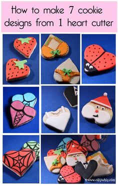 How to make 7 cookie designs from just 1 heart cutter! Recipes and instructions included Cupcakes, Cake Mix Cookies, Cut Out Cookies, Cute Cookies, Royal Icing Cookies, Yummy Cookies, Sugar Cookies, Cookies Et Biscuits, Cupcake Cakes