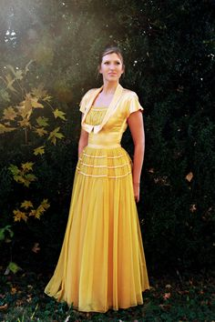 1940s Vintage Emma Domb formal dress - small mustard satin sheer Maxi PROM gown on Etsy, $195.00