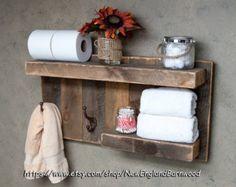 PLATAFORMA de baño con ganchos decoración por NewEnglandBarnwood