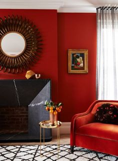 The colours you'll be decorating with in 2017: Flame is an orange-red colour that makes a great statement in a living room.