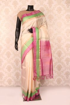#Cream multicoloured pure silk #alluring saree with #pink multicoloured border SR11269