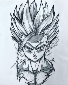 Anime Dibujos A Lapiz Dragon Ball Dbz Drawings, Cool Drawings, Ball Drawing, Anime Tattoos, Dragon Ball Gt, Anime Sketch, Anime Art, Manga Anime, Fanart