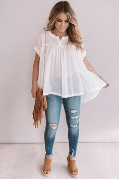 May 2020 - La Boheme Shift Top In Ivory • Impressions Online Boutique Mom Outfits, Casual Summer Outfits, Spring Outfits, Cute Outfits, Peplum Top Outfits, Summer Fashion Outfits, Classy Outfits, Pretty Outfits, Cute Fashion