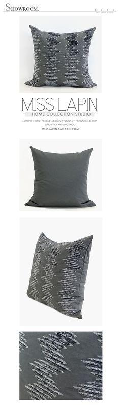 北欧极简/样板房/家居软装/靠包抱枕/灰色波纹双色立体绣花方枕-淘宝网