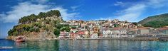 Parga's traditional town,castle & little port taken from a boat