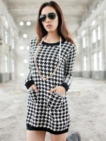 Wholesale Zanzea® Vintage Houndstooth Print Kintted Dress