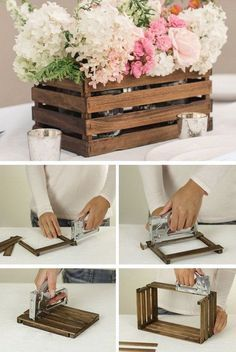 DIY Rustic Stick Basket: Never throw away the paint stir sticks next time! Check out this one, you will find you can use them to a beautiful and inexpensive basket as a decorative centerpiece or as stylish storage on a shelf. - Rustic Home Decor Diy Diy Décoration, Diy Crafts, Acorn Crafts, Garden Crafts, Paint Stir Sticks, Deco Champetre, Diy Casa, Decoration Table, Marriage Decoration
