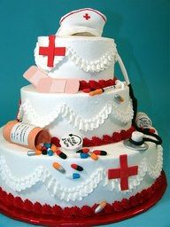 """Tiered cake - put tooth brushes, """"dr Sibal"""" tag, mirror thingie, toothpaste, etc"""