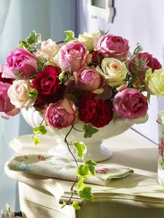 red...pink...white roses in ironstone tureen....love...