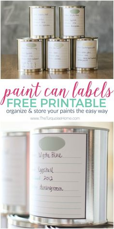 Paint Can Labels Free Printable | Organize Paints | Paint Storage | 30 Days to Less of a Hot Mess Challenge
