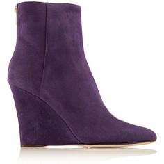 Jimmy Choo Suede wedge boots ($347) ❤ liked on Polyvore featuring shoes, boots, purple, pointy toe boots, wedges shoes, wedge heel boots, jimmy choo shoes and suede boots