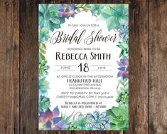 Bridal shower invitation watercolor floral by sweetinviteshoppe diy print at home succulent bridal shower 5x7 invitation rustic vintage style printable filmwisefo Image collections