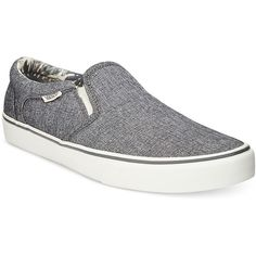 Vans Men's Asher Canvas Slip-On Sneakers ($55) ❤ liked on Polyvore featuring men's fashion, men's shoes, men's sneakers, black, mens shoes, mens black canvas shoes, mens canvas sneakers, mens black sneakers and mens canvas slip on shoes