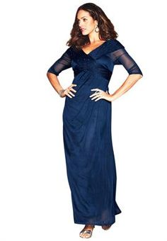 Plus Size Formal Dress With Front Crossover image