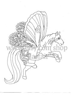 Hand Drawn Mythical Horse coloring coloring page by Bellasfair