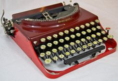 Working Remington No 3 Portable Typewriter in Red by anodyneandink, $285.00