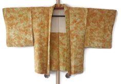Ombre Orange Yellow Shibori Silk Haori Kimono Jacket Asanoha