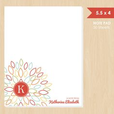 Personalized Note Pad // Colorful Blooming Blossom by k8inked, $14.00