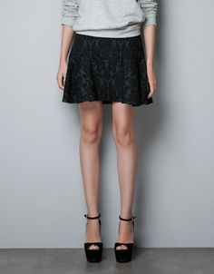 JACQUARD PATTERN SKIRT WITH FRILL - Skirts - Woman - ZARA United States