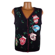 Ugly Christmas Sweater Vintage 1980s Tacky Holiday Santa Cardigan Vest Party Women's size M