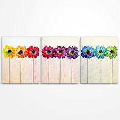 Flowers in a row Modern Colorful Art Bright by MagdaMagier