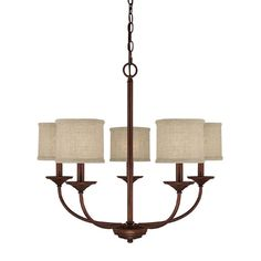 This Loft collection 5-light chandlelier features a burnished bronze finish that will compliment many loft, urban and transitional decors. The beige decorative shades soften the light and the shape ma